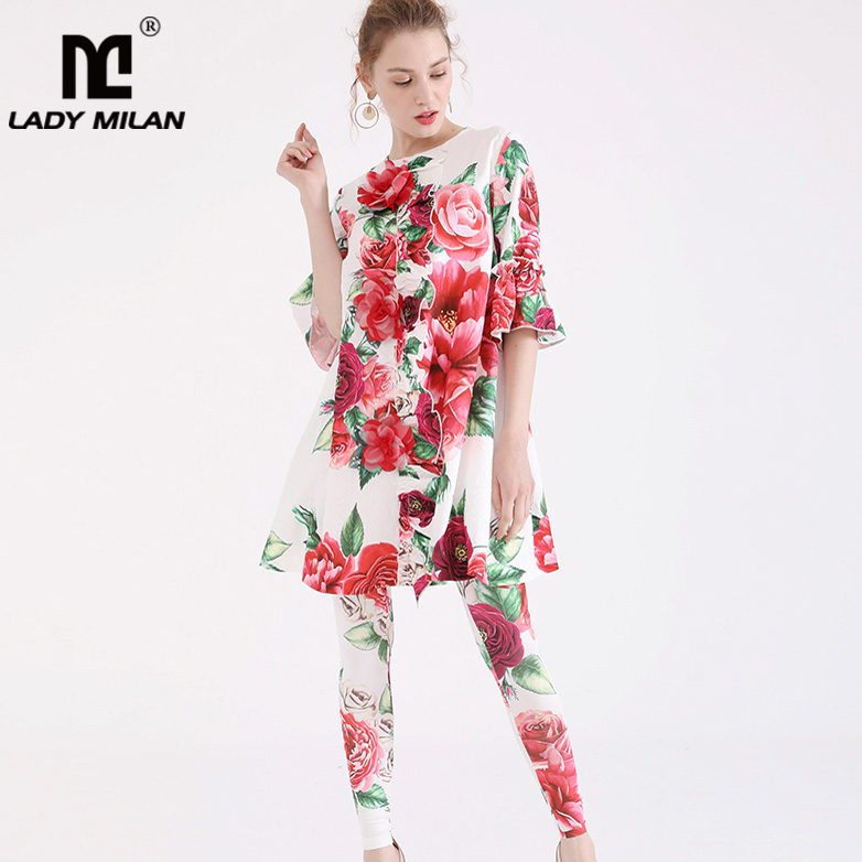 Women's Sets 2019 Spring Womens Runway Twinsets O Neck Half Sleeves Floral Printed Ruffles Shirts With Pants Fashion Two Piece Sets