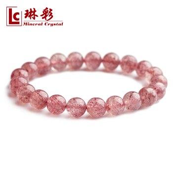 Natural rose strawberry bracelet pink crystal bracelet accessories Women dr. peach
