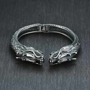 Image 4 - Heavy Stainless Steel Dragon Head Cuff Bracelet for Men Nomad Tribal Vintage Bangle Jewelry