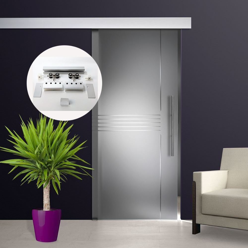 4.9/5.6/6/6.6/7.2/8.2FT Aluminium Alloy Frameless Brushed Silver Colour Barn Sliding Glass Door System