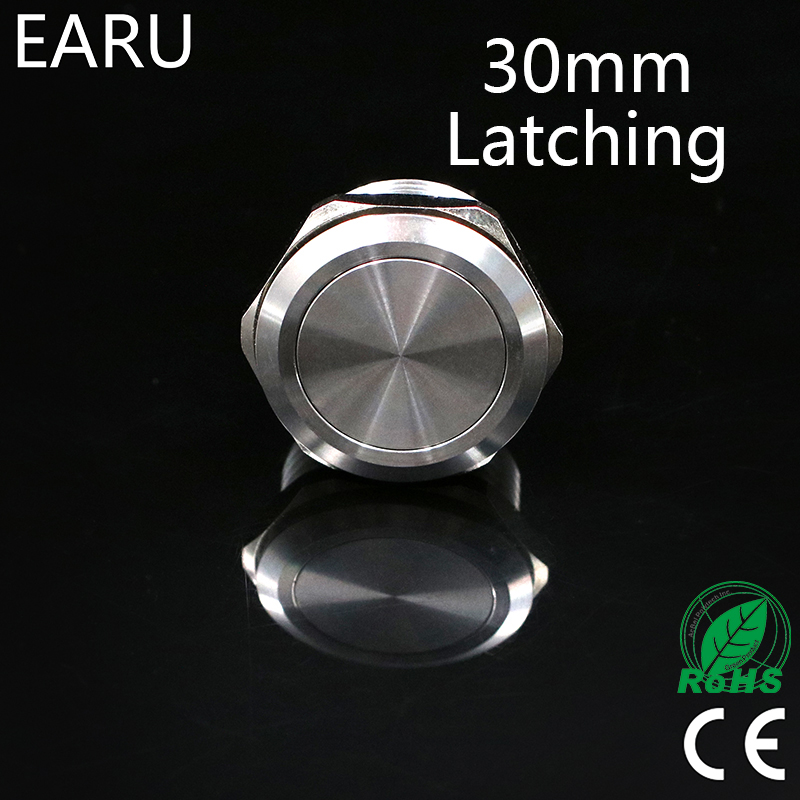 30mm Metal Stainless Steel Waterproof Latching Doorebll Bell Horn Push Button Switch Car Auto Engine Start PC Power Locking 30mm metal stainless steel waterproof latching doorebll bell horn push button switch car auto engine start pc power locking