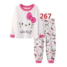 Дети девочки Повседневное хлопок домашний пижамный комплект для детей с героями мультфильмов, Длинные рукава Пижама, комплект одежды для девочек, высокое качество пижамный комплект
