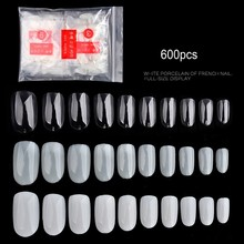 1 Bag 600PCS Oval Round Short False Nails Tips Natural Full Cover French Fake Nail Art Acrylic Manicure Salon Tools (0#-9#)