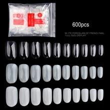 1 Bag 600PCS Oval Round Short False Nails Tips Natural Full Cover French Fake Nail Art Acrylic Manicure Salon Tools (0#-9#)