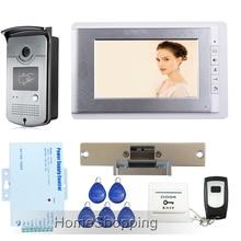 Free Shipping Hot New Apartment 7″ Video Intercom Door Phone System With RFID Keyfob Reader Camera + Strike Door Lock Wholesale