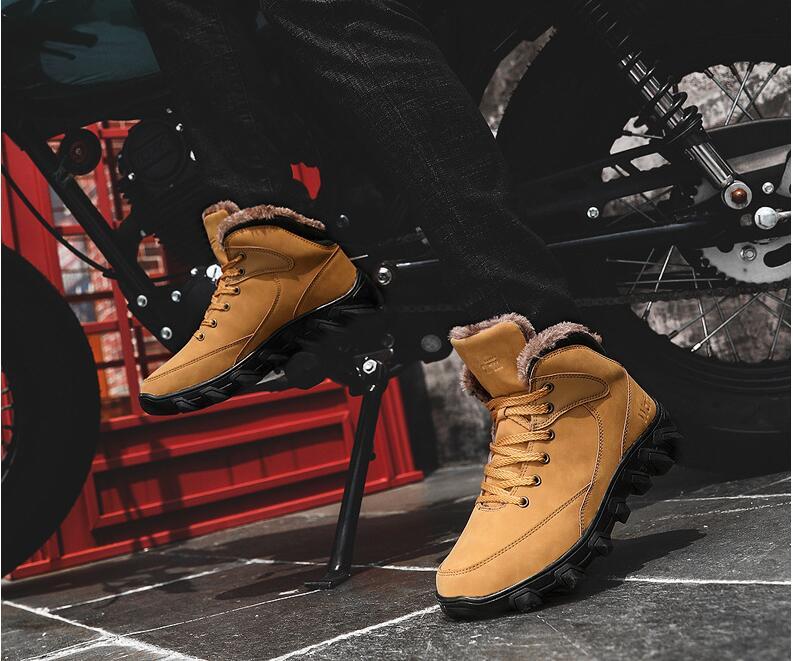 Homme Noir Avec marron Amshca Mâle Neige Plus Pu Résistant D'hiver En 2018 Cuir Randonnée À Bottes Fourrure Caoutchouc Botte Hommes Chaussures De 46 Cheville Hiver L'usure Bota 414Yq