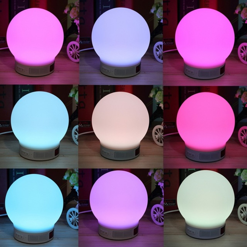 Mini Wireless Bluetooth Speaker RGB LED Lamp Magic Smart Bulb Colorful Light Alarm Music Audio Decor Night Lighting Speakers