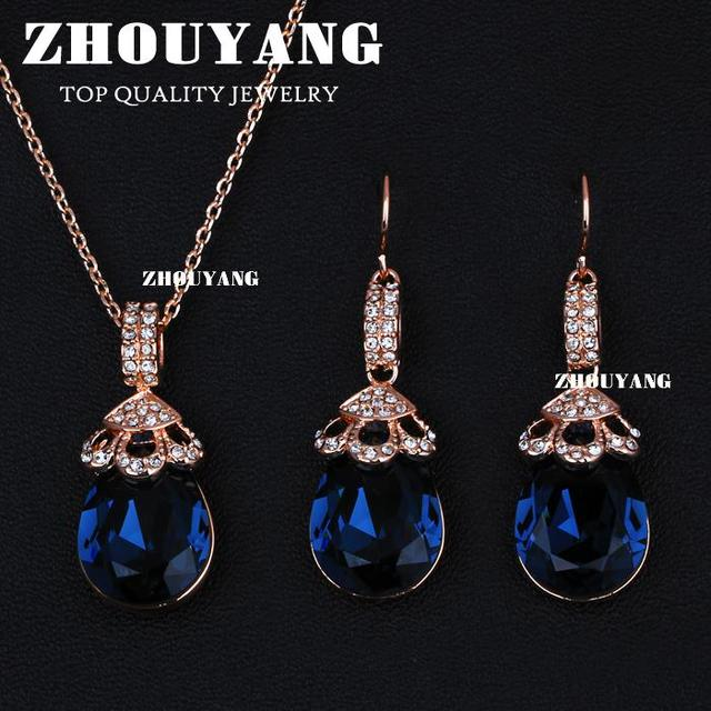 Top Quality (ZYS122)  Rose Gold Plated Jewelry Necklace Earring Set Rhinestone Made with Blue Austrian Crystals