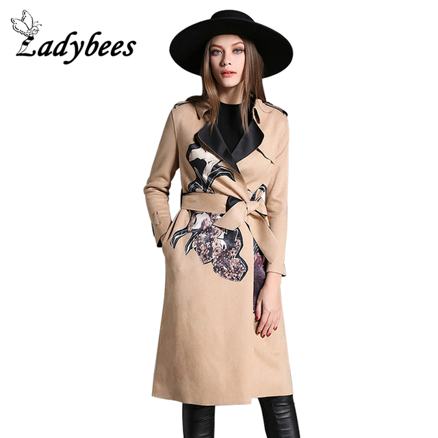 LADYBEES 2017 Velvet Long Women Trench Khaki with Belt Flannel Warm Coats Luxury High quality Floral Printed Overcoat Slim coat