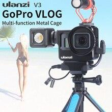 ULANZI V3 מתכת Vlog כלוב רב פונקציה כלוב לgopro 7 6 5 עם אוניברסלי 52 MM מסנן ממשק מיקרופון מתאם עבור מיקרופון/LED אור