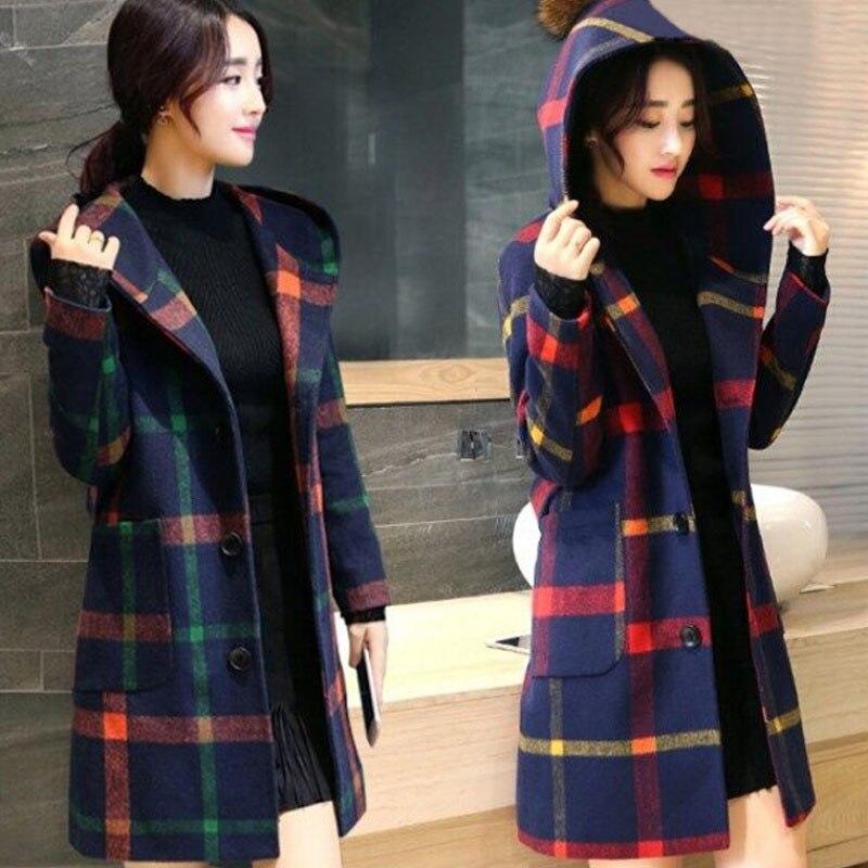 Women Grid Hooded Overcoat Long Sleeve Slim Fit Woolen Coats Windproof Warm Outwear FS99
