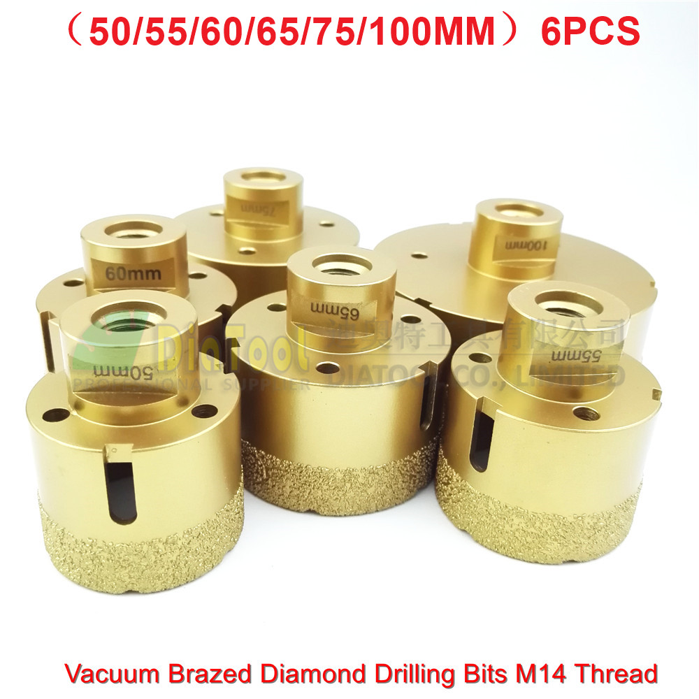 4mm diamond twist drill bit - 6pcs Big Size Vacuum Brazed Diamond Drill Core Bits With 15mm Diamond Height 50 55