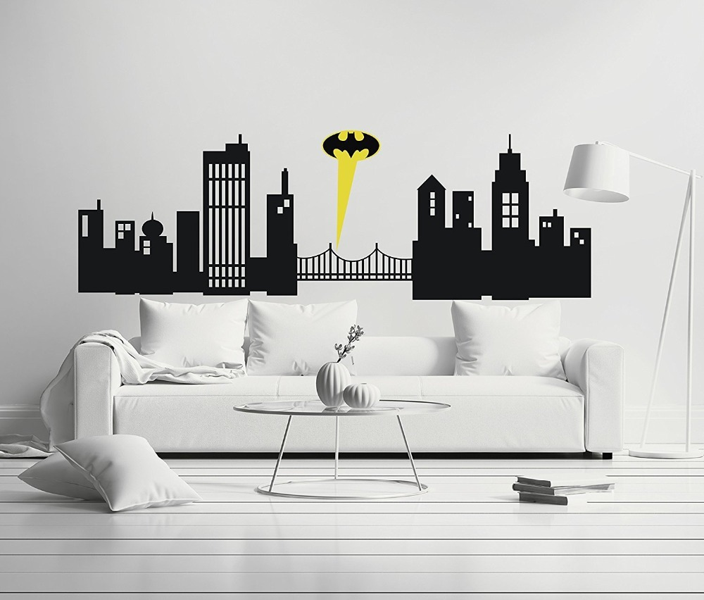 US $13 99 |Removable Creative Gotham City Buildings Home Office Room Mural  Art Vinyl Decal Wall Stickers For Home Car Laptop-in Wall Stickers from