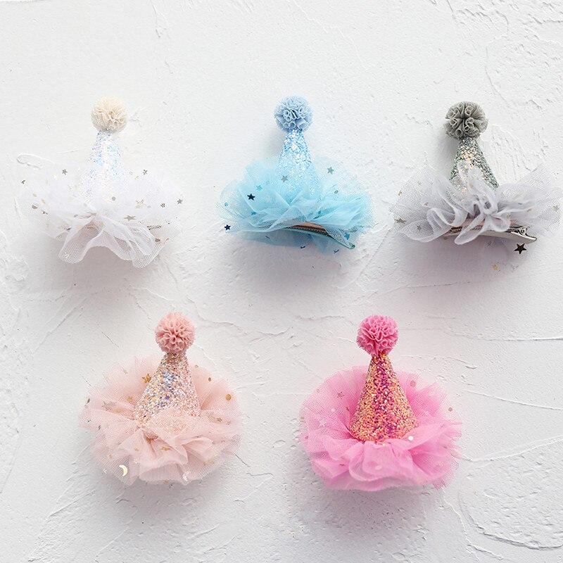 10pcs/lot Metallic Glitter Cone Hat Hair Clips Birthday Party Hat Headband With Pom Pom Ball Girls Gift Head Wear Hair Barrette