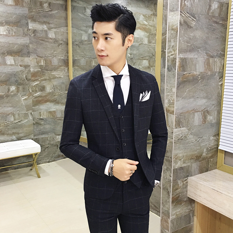 Classic Complete Mens Plaid Suits Casual Wedding Tuxedo Skinny ...