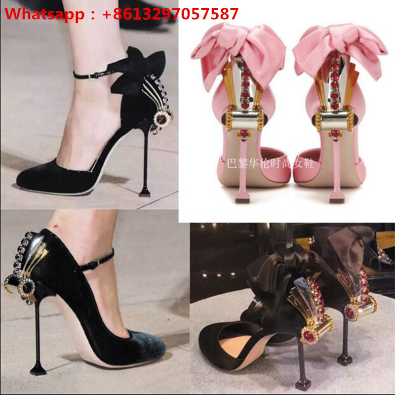 Luxury Design Vintage Sandalias Pumps Milan Show Women Gladiator Sandals Bowtie Rhinestone Studded Runway High Heels Shoes Woman