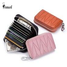 цены FUNMARDI RFID Blocking Zipper Card Holder Women Wallet Genuine Leather Credit Card Bags For Men Coin Purses Bag Ladies WLHB1998