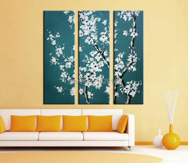 Hand Painted Wall Decor clear white Flowers Oil Painting 3 Piece ...