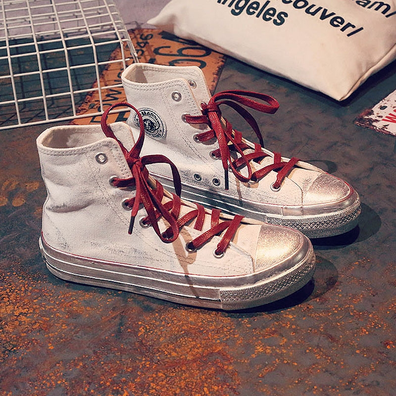 YD-EVER Retro Fashion High Top Sneakers Women Casual Shoes Flat Female Lace Up Solid Trainers Chaussure Femme