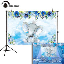 Allenjoy photography background baby shower elephant decorations floral boy birthday party backdrop photocall photo prop(China)