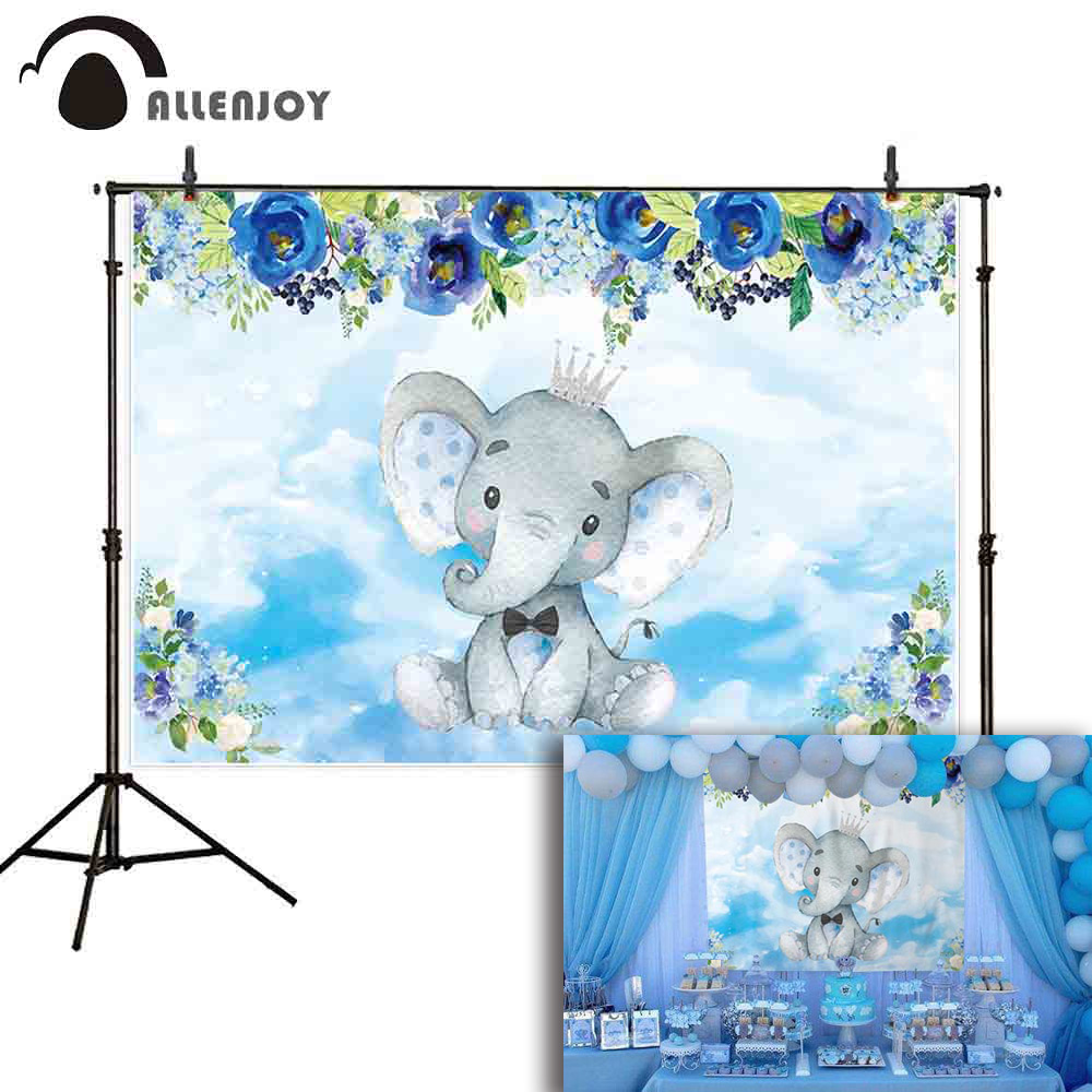 Allenjoy photography background <font><b>baby</b></font> <font><b>shower</b></font> elephant decorations floral <font><b>boy</b></font> birthday party <font><b>backdrop</b></font> photocall photo prop image