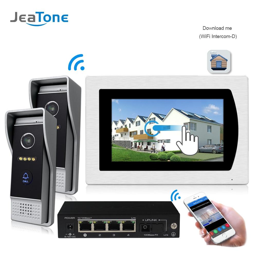WIFI IP Video Door Phone Intercom System Video Doorbell 7'' Touch Screen For 2 Doors Apartment/8 Zone Alarm Support Smart Phone
