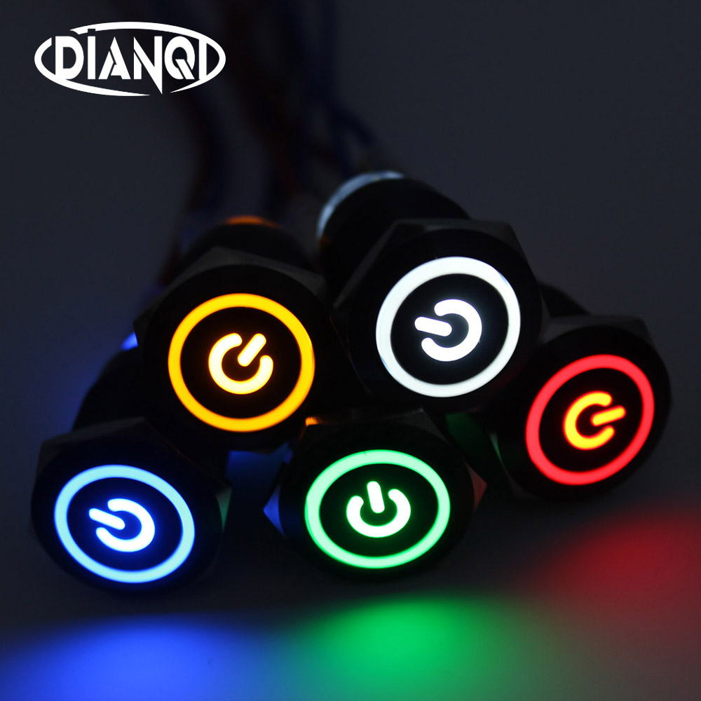 19mm Metal Alumina black press button reset PushButton Switch with Led Power indicator lamp flat button momentary 19HXDY.F.BK 16mm metal oxidized push button switch flat round 1no reset press button screw terminal momentary red black blue gold green