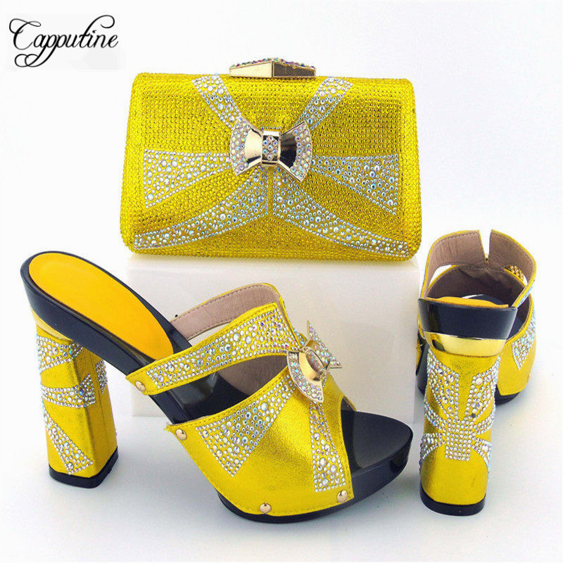 Capputine Hot Selling Pumps Shoes And Evening Bag Set Fashion African Woman High Heels Shoes And Bags For Party Free Shipping capputine new arrival woman shoes and bag set nigerian design high heels shoes and bag sets for party free shipping bch 40