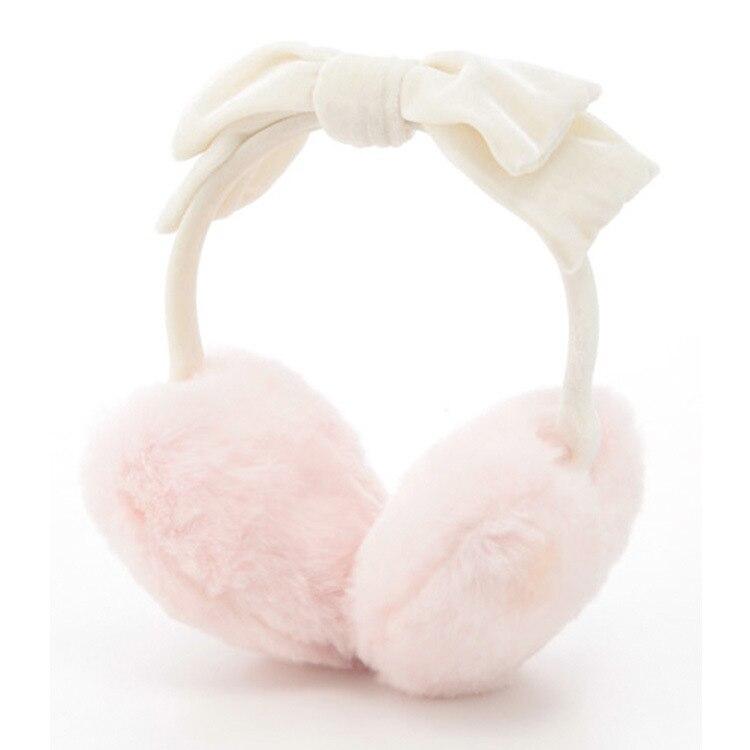 White/Pink Heart Shap Bow tie Soft Valour Earmuffss