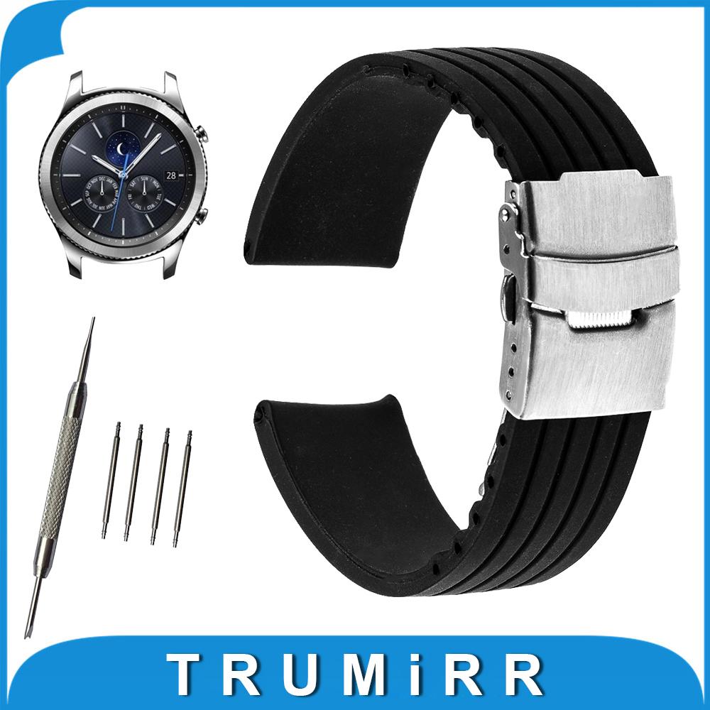 Prix pour 22mm Montre En Caoutchouc de Silicone Bande pour Samsung Gear S3 Classique/Frontière Acier Inoxydable Boucle Courroie de Poignet Bracelet Noir