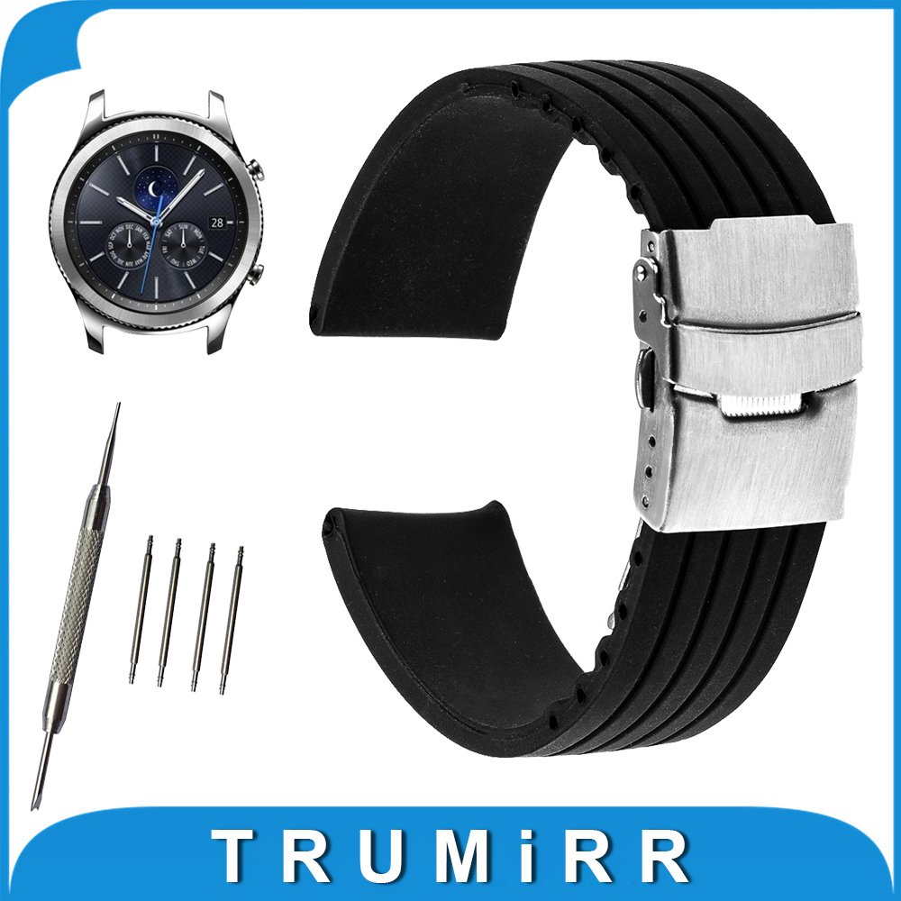 22mm Silicone Rubber Watch Band for Samsung Gear S3 Classic / Frontier Stainless Steel Buckle Strap Wrist Belt Bracelet Black crested sport silicone strap for samsung gear s3 classic frontier replacement rubber band watch strap for samsung gear s3