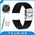 22mm Silicone Rubber Watch Band for Samsung Gear S3 Classic / Frontier Stainless Steel Buckle Strap Wrist Belt Bracelet Black