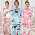 Nuevo invierno Conjunto ropa de las mujeres de Franela pijamas de Dibujos Animados Del Gato Del Gatito cabeza De Vaca Linda chica de servicio a Domicilio