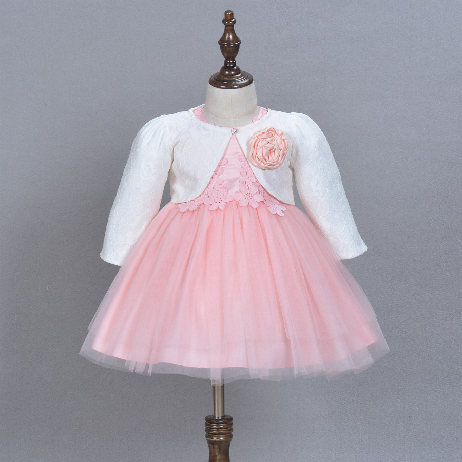 2018 Formal Elegant Baby Dress For 1 2 Year Old Birthday White And Pink Flowers Party Vestido -8297