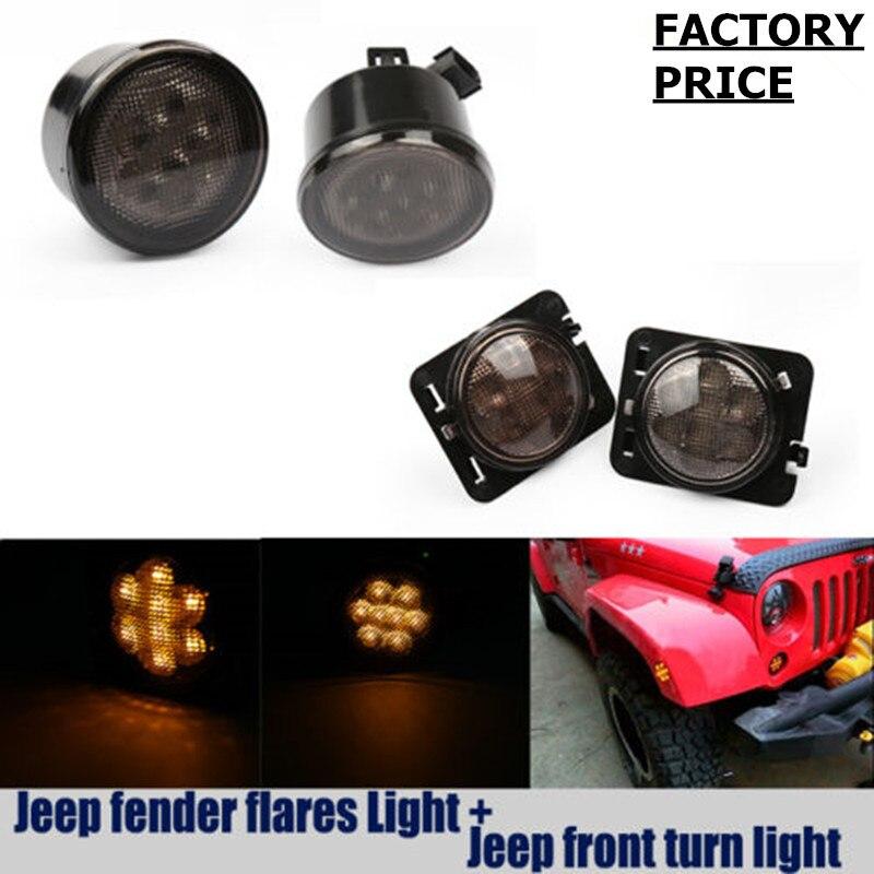 4PCS LEDs light Front Fender Flares Side Marker Turn Signal Light LED Lamp For Jeep Wrangler JK 2007~2017 Year Amber color