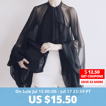 TWOTWINSTYLE Bowknot Chiffon Blouse Shirt Women Lantern Sleeve Tulle Transparent Sexy Tops Large Size 2018 Spring Summer Casual(China)