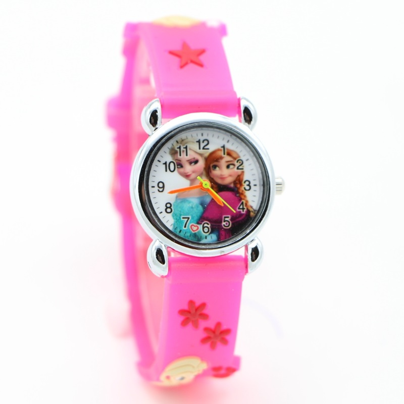 New Anna Elsa 3D Cartoon Desgin Fashion Watches Children Kids Watch Boys Gift Casual Quartz Wristwatch Relojes Kol Saati Clock