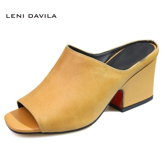 LENI DAVILA Fashion Full Grain Leather Summer Women's Peep Toe Outdoor slippers High heels handmade Classics sandals for women parish communities
