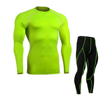orange long sleeve Compression Shirts pants green Skin Tight sets Weight Lifting Base Layer set cycling Training fitness wear