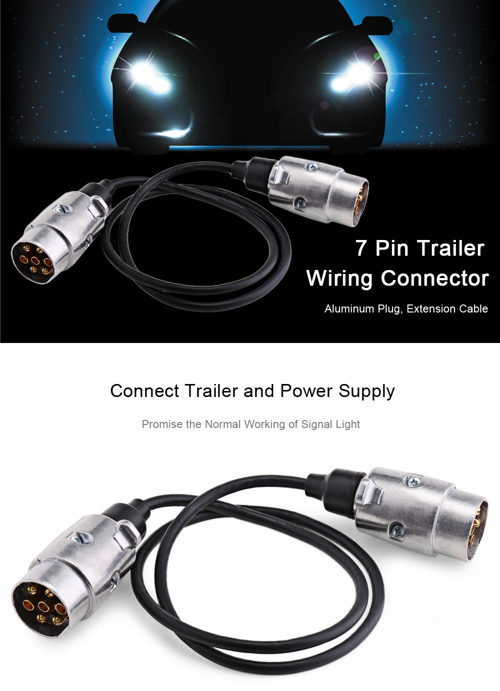 online get cheap trailer wiring com alibaba group vehicle parts trailer wiring connector n type aluminum 7 pin t23488 plug 82cm spring extension