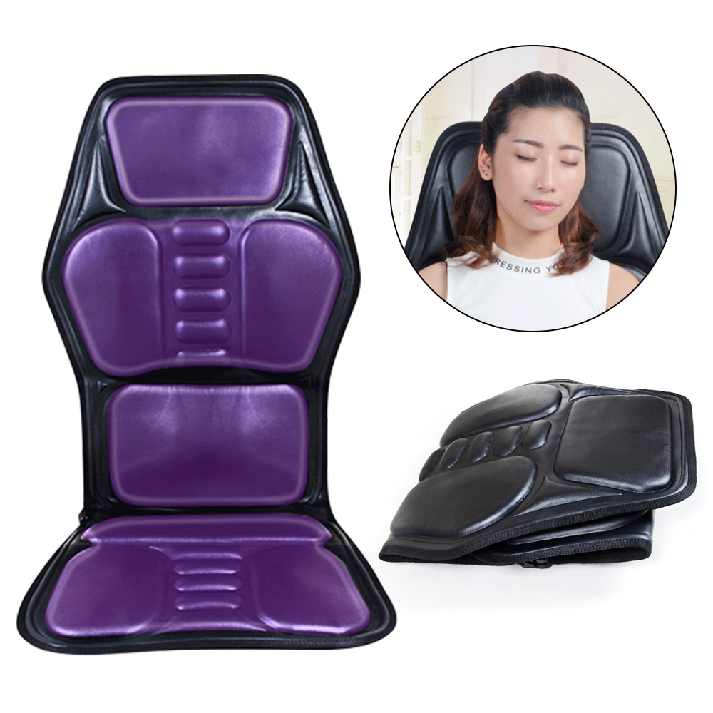 Electric PU Back Heated Massage Chair Multifunction Massage Car Seat Chair Massager Lumbar Neck Mattress Pain Relief image