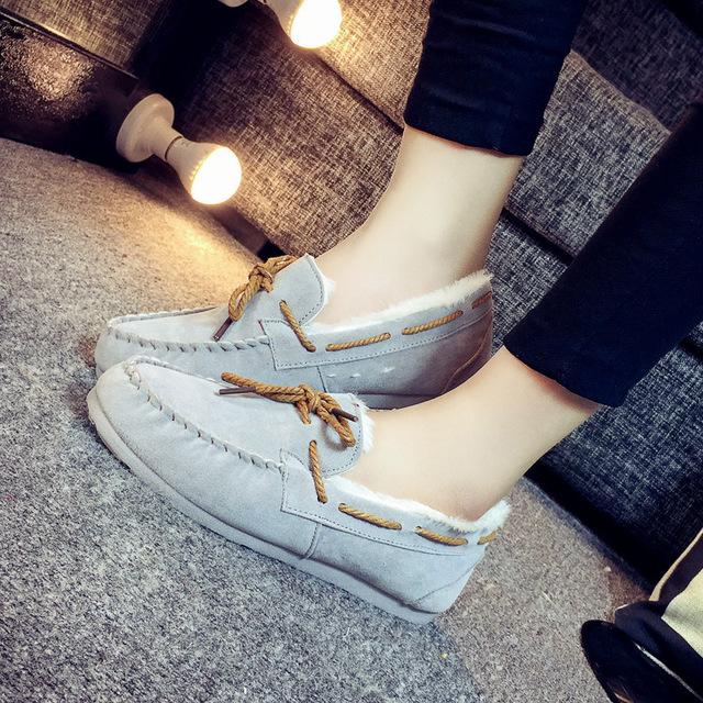 De las mujeres Zapatos de Los Planos Del Holgazán de la Felpa Mujer Slip-On Punta Redonda Informal De Cemento Plástico Forrada de Piel de Ante de Las Señoras de Invierno Zapatos calientes QX-808