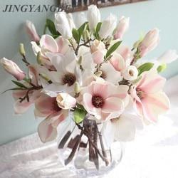 Decoração de casamento flores de seda casamento Magnólia orquídeas flores artificiais para decoração de casa