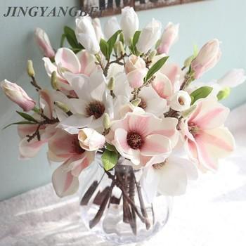 Dekoracje ślubne jedwabne kwiaty orchidei Magnolia sztuczne na ślub kwiaty do dekoracji wnętrz tanie i dobre opinie JINGYANGBEI Sztuczne kwiaty Gałąź z kwiatami Jedwabiu Ślub artificial flower Display Flower Leaf-shaped pink red white rose red