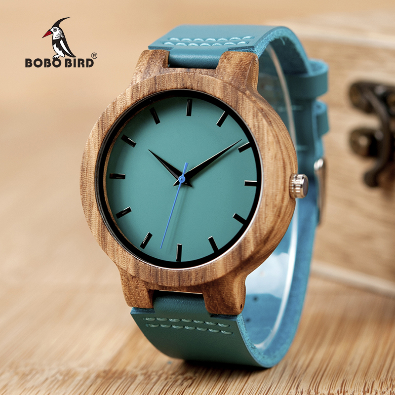 BOBO BIRD C28 Mens Zebra Wood Wristwatch Blue Dial Leather Quartz Watches in Gift Box Relogio Masculino Mujer 2018 bobo bird wh29 mens zebra wood watch real leather band cool visible quartz wooden watches for men with gift box dropshipping