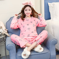Flannel Winter Causal Women Printing Pink Diamond Pajamas with Long Sleeve Long Pant O Neck Large Size Home Suit Pajama Sets