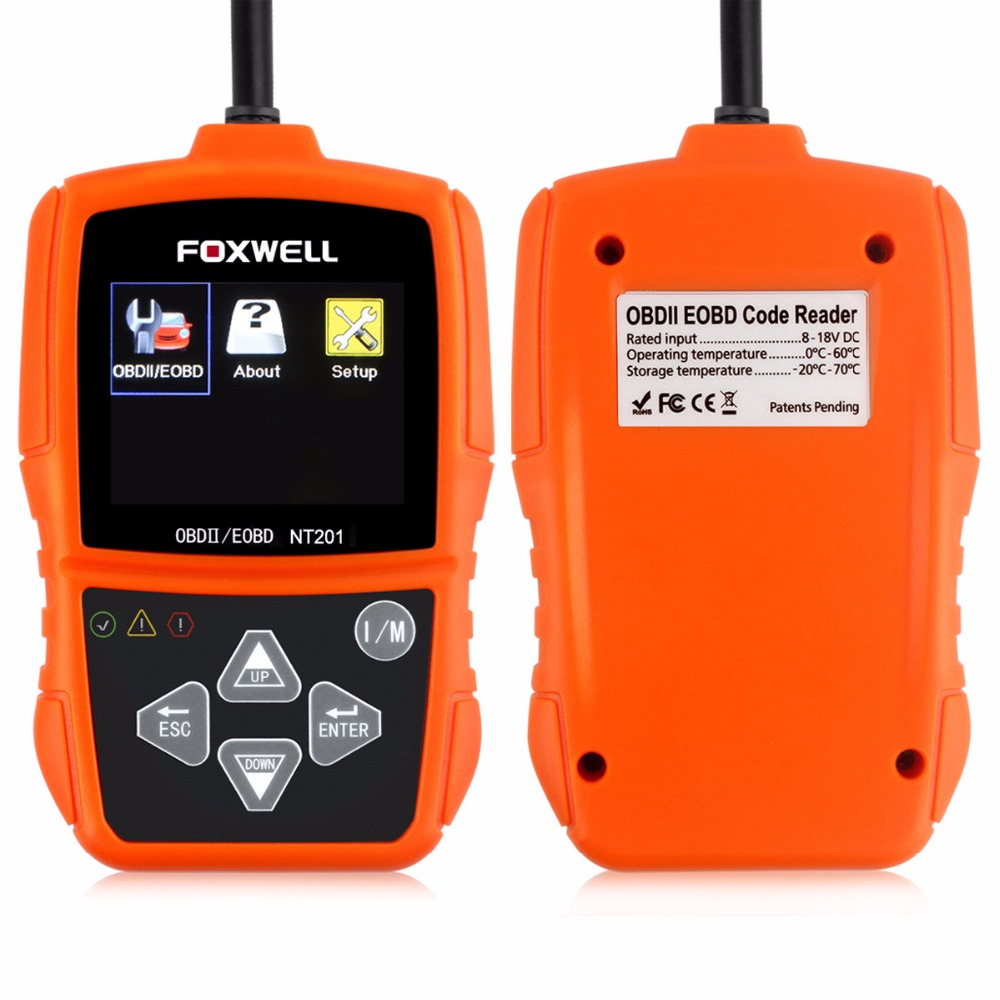Цена за Автоматический диагностический сканер Foxwell NT201 OBDII может Code Reader OBD2 диагностический инструмент OBD2 сканер в российский прокат детектор