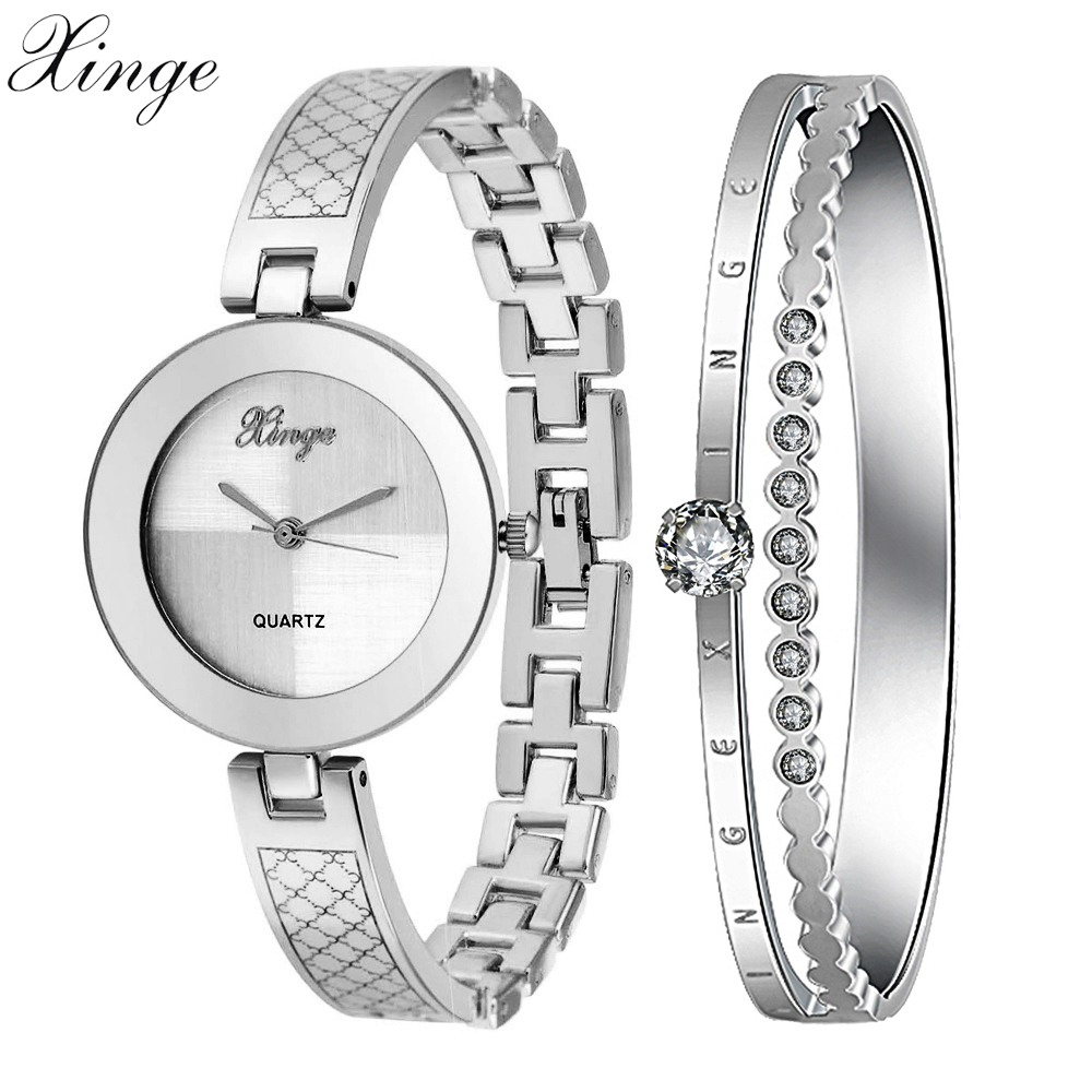 Xinge Brand Women Watches Luxury Rhinestone Bracelet Gold Silver Wristwatch Women Dress Watches Set 2018 Luxury Waterproof Watch xinge brand luxury crystal quartz watch women bracelet rhinestone jewelry watch set wristwatch waterproof women dress watches