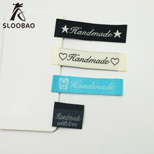 100pcs mix Handmade Letter Fabric Labels Sewing Accessories Cotton Main for T-shirt Baby lothing Clothing Label