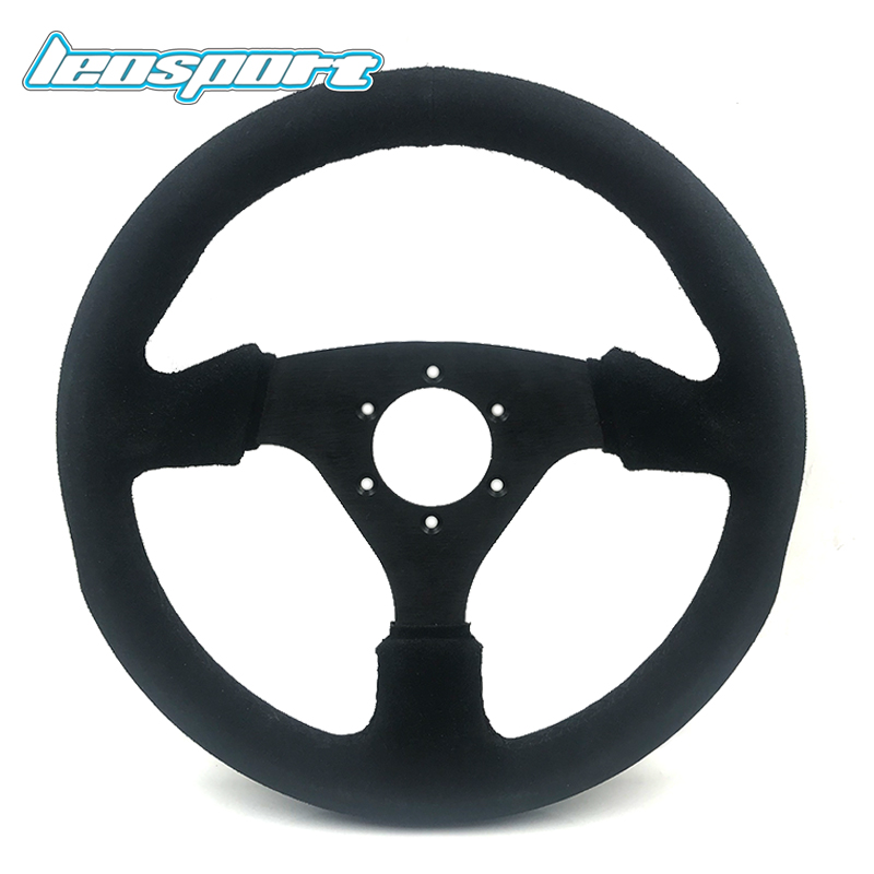 13inch (330mm) Steering Wheel Suede Leather black Steering Wheel Flat Racing Steering Wheel With horn button learning driving skills generation computer racing games steering wheel motor racing steering wheel vibration with handbrake